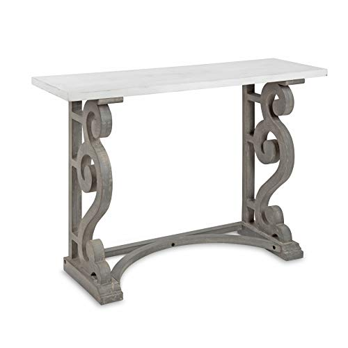 (Kate and Laurel Wyldwood Solid Wood Farmhouse Console Table, Distressed White and Rustic Gray)