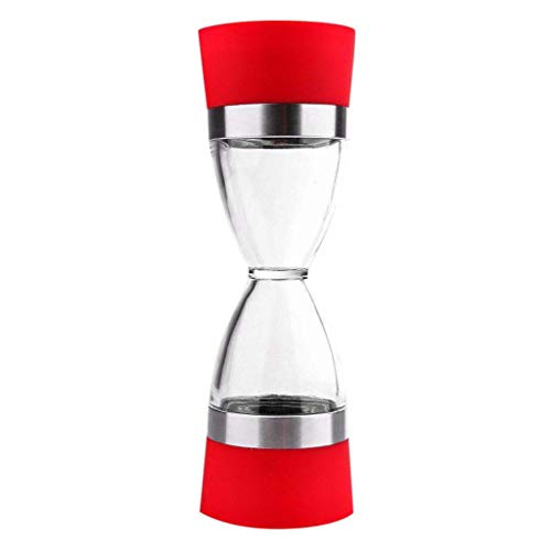 Pepper Mill,BCDshop Dual Hourglass Shape Salt Grinders and Pepper Mill Shaker Spice Grinder Kitchen Tools (Red)