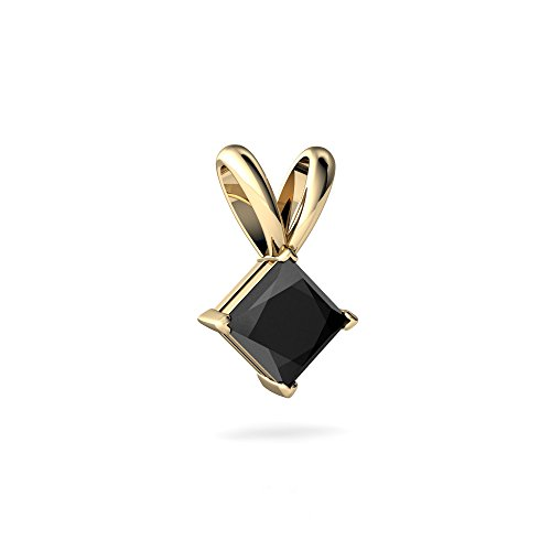 14kt Yellow Gold Black Onyx 5mm Square Solitaire Pendant