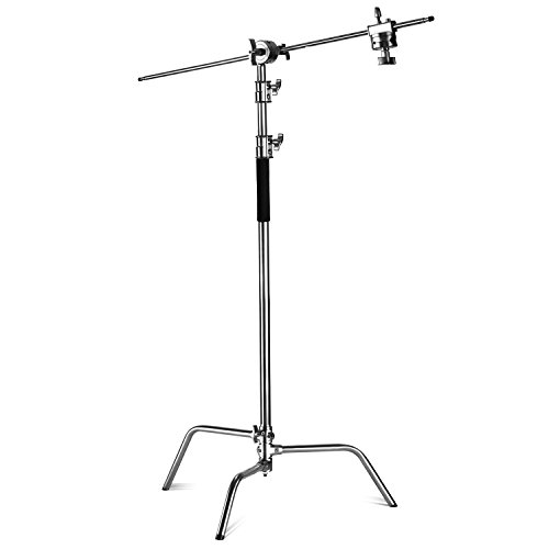 Neewer Pro 100% Metal Max Height 10ft/305cm Adjustable Reflector Stand with 4ft/120cm Holding Arm and 2 Pieces Grip Head for Photography Studio Video Reflector, Monolight and Other Equipment