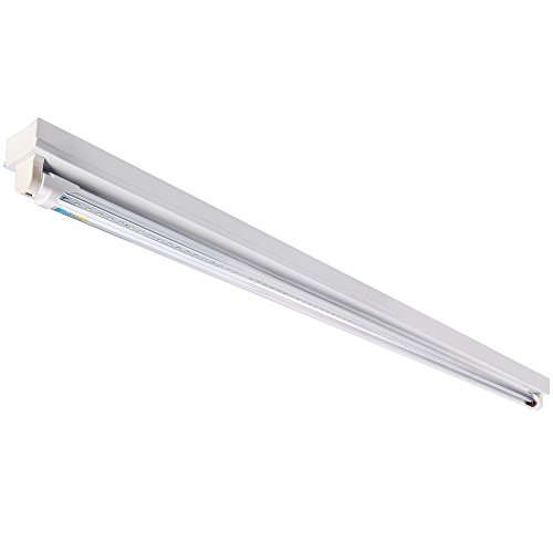 Brillihood 4FT Integrated Linear Commercial Strip Light, 6000K (Cool White), Single Bulb Fluorescent Ceiling Fixture with 18w LED T8 Tube, 1800 Lumens, Clear (Fluorescent Strip Fixture)