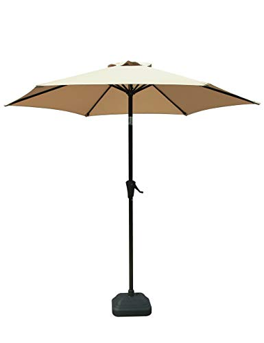 PATIOROMA 7.5 Feet Outdoor Patio Umbrella with Push-Button Tilt and Crank, 6 Ribs, Polyester Canopy, Beige Review