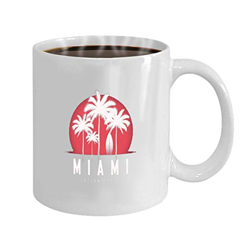 Funny Gifts for Halloween Party Gift Coffee Mug Tea miami ocean drive print palm trees design typ typog]()