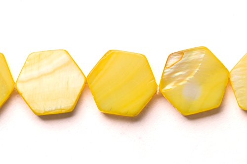 Capiz Shells Wholesale - Light Yellow Mother-Of-Pearl Flat Hexagon Shell Beads Size:15x15mm