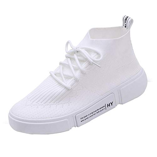 vermers Clearance Women Leisure Mesh Breathable Round Toe Lace-up Sneakers Girl Sport Running Casual Shoes(US:6.5, White) by vermers