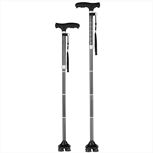 Crutches Handcuffs Trekking Pole Aluminum Alloy With Light Telescopic Four-Footed Monopod Outdoor Products Black Anti-Slip Adjustable Folding Ultralight Portable Mobility Inaccessible Mountaineering C