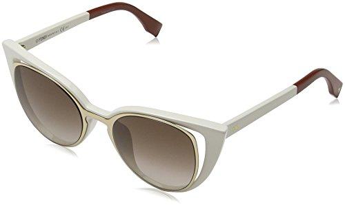 Fendi Women's Cutout Cat Eye Sunglasses, Gold White/Brown Shade, One - 2017 Sunglasses Fendi