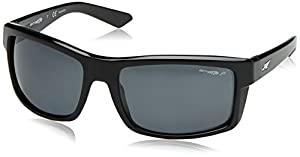 Arnette Men's Corner Man Polarized Rectangular Sunglasses, Gloss Black, 61 mm