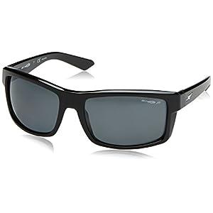 Arnette Men's Corner Man Polarized Rectangular Sunglasses, Gloss Black, 61 mm