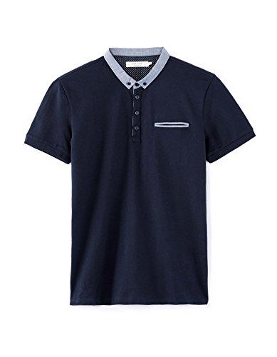 Bleu Uni Depetit Courtes Manches Polo Homme marine Celio SzTAq8w4