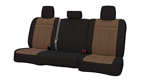 (Rear SEAT: ShearComfort Custom Neoprene-Style Seat Covers for Subaru Impreza Wagon and Hatchback (2008-2014) in Black w/Tan for 40/60 Split Back Solid Bottom w/ 3 Adjustable Headrests (WRX Model))