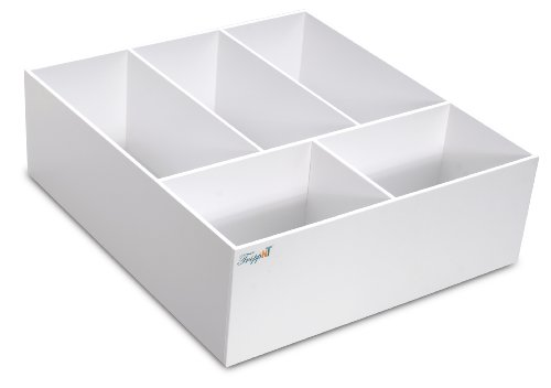 TrippNT 50166 White PVC Plastic 6'' Extra Deep Drawer Organizer, 5 Compartments, 17.5'' Width x 6'' Height x 19.5'' Depth by TrippNT