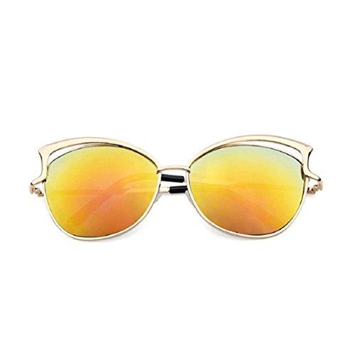 Ikevan 2017 Fashion Retro Men Women Clear Lens Glasses Metal Spectacle Frame Myopia Eyeglasses Sunglasses (Orange)