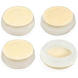 "1 1/4"" DIAMETER DEEP FELT CUP GLIDES - WHITE, 4 PIECES"