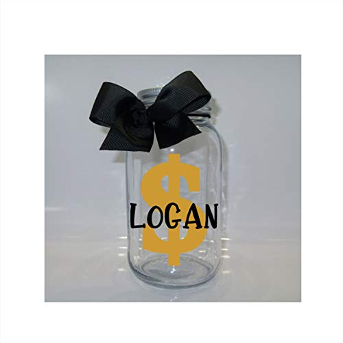 (Personalized Savings Mason Jar Bank - Coin Slot Lid - Available in 3 Sizes)