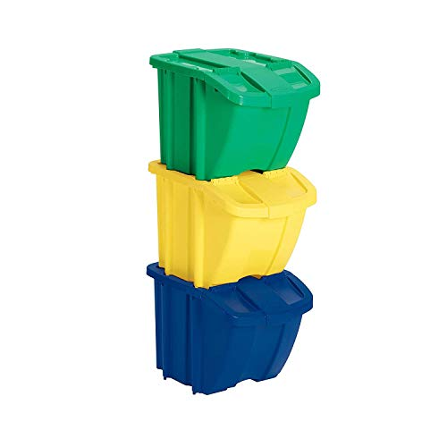 (Suncast Recycle Bin Kit - Stackable Organizer Stores Recyclables, Tools and Toys - Storage Bin with Front Flap Ideal for Dry Storage - Multi-Colored)