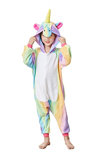 Comfy New Kids Unisex Animal Onesies Unicorn Pajamas Cosplay Outfit Halloween Costume One-Piece Birthday Gifts (8T Height 49-53
