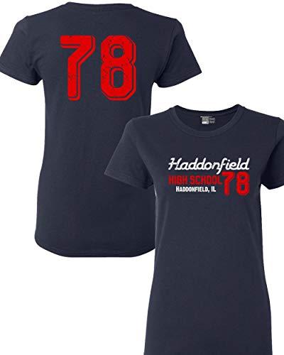 Beach Open Ladies Haddonfield High School 78 Halloween Costume Front & Back DT T-Shirt Tee (Medium, Navy -