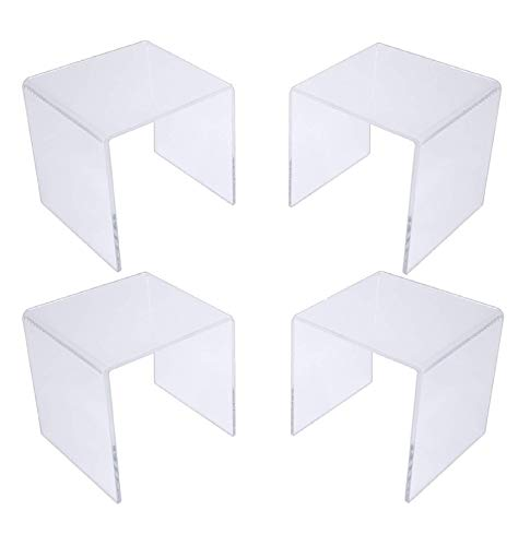T'z Tagz Brand Clear Acrylic Square Riser Sets & Packs 2 inch - 8inch (Acrylic, 2