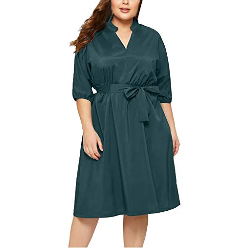 CCatyam Plus Size Dresses for Women, Skirt V Neck Solid Oversized Loose Sexy Casual Party Fashion Green