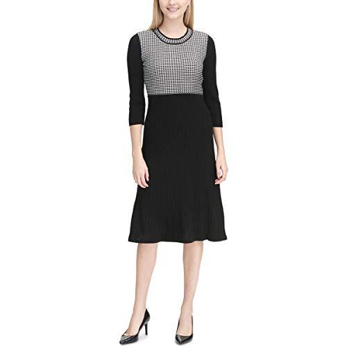 Calvin Klein Women's Mixed Sweater Dress, Black/White, XS