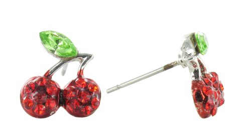 Mini Pave Cherries Rhinestone Stud Earrings - Red and Green Crystals