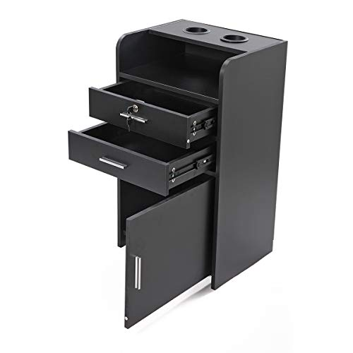 Black 3-layer Beauty Salon Cabinet Trolley Locking Barber Storage Wood Rolling Drawer Station