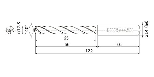3 mm Hole Depth Internal Coolant Mitsubishi Materials MMS1280X3DB MMS Series Solid Carbide Drill 14 mm Shank Dia. 2.3 mm Point Length 12.8 mm Cutting Dia