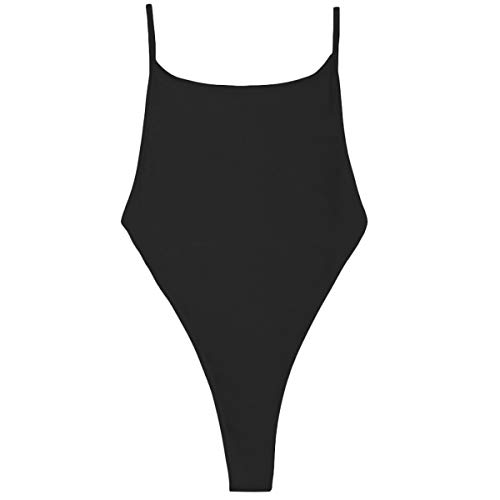 NE Norboe Strappy One Piece Backless Sexy Thong Bikini Swimsuits High Waist G String Bathing Suit for Women(Black, M) -