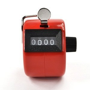 LORJE Red Color Handheld Tally Counter 4 Digit Display for Lap/Sport/Coach/School/Event