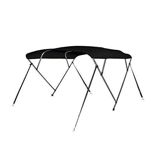 (Seamander 4 Bow Bimini Top Boat Cover 4 Straps for Front and Rear Includes with Mounting Hardware(4 Bow 8'L x 54