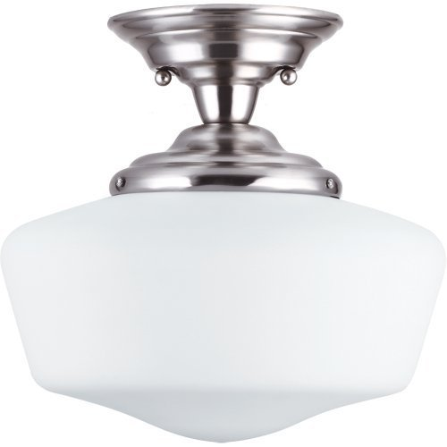 (Sea Gull Lighting 77437BLE-962 Brushed Nickel Finished Semi-Flush Mount with White Schoolhouse Glass Shades by Commercial Lighting)