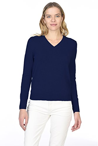 State Cashmere Women's 100% Pure Cashmere Long Sleeve Pullover V Neck Sweater