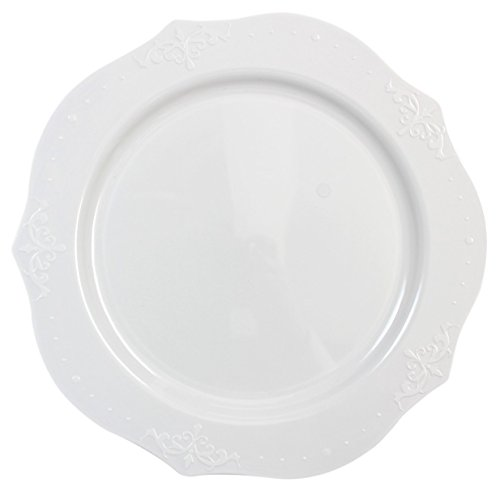 Posh Setting Antique Collection 40 Pack China Look 10 Inch White Plastic dinner Plates, Fancy Disposable Dinnerware (Plates China Antique)