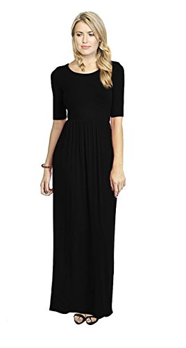 Simlu Women's Long Rayon Maxi Dress, Scoop Neck and Empire Elastic Waist, Solid Black XL