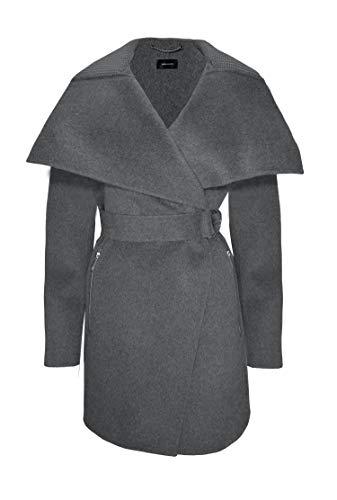 Karen Millen Women's Charcoal Gray Wool Wrap Coat (8)