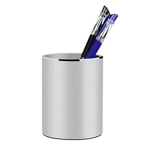 HYUAN Pen Holder Single Hole Round Metal Pencil Holder with Anti-Slip Silicone Bottom Office Desk Deco A378 Silver by HYUAN