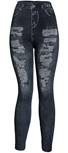 (KMystic Women's Denim Print Fake Jeans Leggings (ThighRip Black))