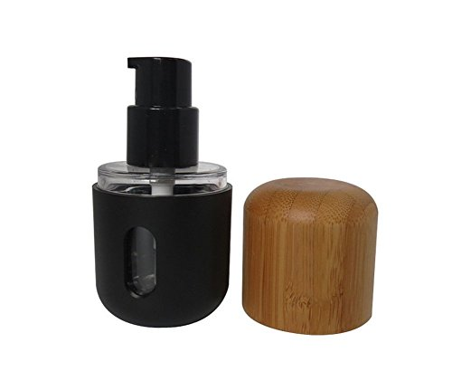 - 1PC 30ml/1oz Capsule Shaped Empty Refillable Black Shell Plastic Liner Pump Press Bottle Lotion Dispenser Cosmetic Container Jar Pot Vial Holder with Bamboo Cap for Emulsion Serums Liquid Foundation