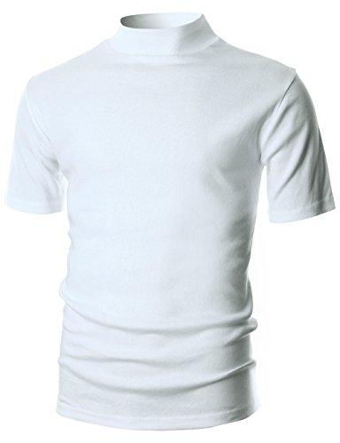 Pullover Mock Turtleneck (Ohoo Mens Slim Fit Flice Short Sleeve Pullover Lightweight Mockneck/DCT105-WHITE-XL)