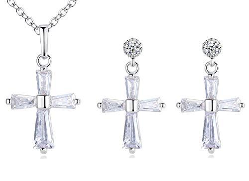(Gyn&Joy Silvery Tone CZ Cross Pendant Necklace Earrings Set Fashion Jewelry for Women BN009NC)