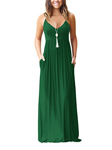 Chic-Lover Women's Summer Sleeveless Loose Plain Maxi Dress Casual Flowy Vacation Long Dresses with Pockets Jasper XL for $<!--$23.99-->