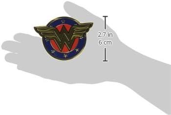 Dc Comics Licensed Heavy Duty Embossed Metal Sticker-Colored Wonder Woman Shield 2.5X3.5