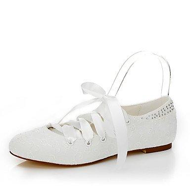 White Spring Flat UK4 Others Dress Silk Wedding Fall Bowknot EU36 Heel Flats Evening Women'S amp;Amp; Flats US6 Lace Summer CN36 Party Znx57a4wq