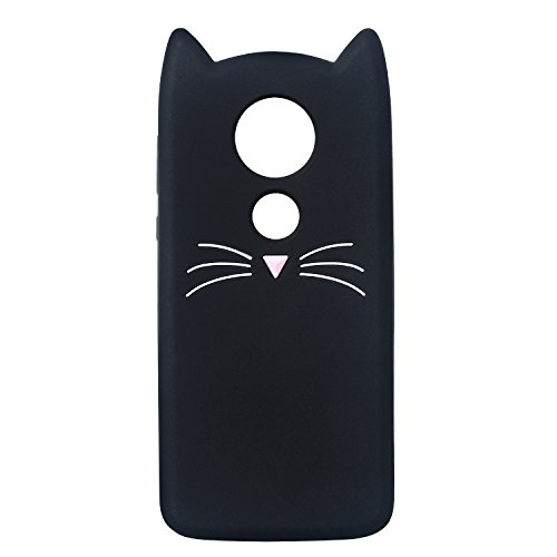 Mulafnxal Case for Motorola Moto E5 Plus,E5 Supra,Soft Silicone 3D Cartoon Animal Slim Cover,Cute Cases Kids Girls Shock Proof Rubber Gel Kawaii Character Protector for Moto E5Plus + (Black Cat)