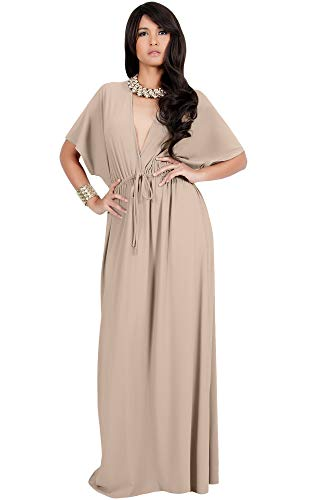 KOH KOH Plus Size Womens Long Sexy Kimono Short Sleeve Casual V-Neck Maternity Cocktail Summer Cute Flowy Kaftan Sundress Sundresses Gown Gowns Maxi Dress Dresses, Tan Light Brown 2 X ()