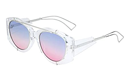 Icon Crystal Clear Oversized Sunglasses w/ Gradient Oceanic Color Lenses (Silver Wire Frame, Purple / Pink - Wire Frame Gradient Sunglasses