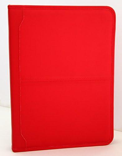 Porte-documents avec classeur /à anneaux et presse-papiers Format A4 Noda Red Conf/érencier en cuir synth/étique polyur/éthane /à fermeture /éclair