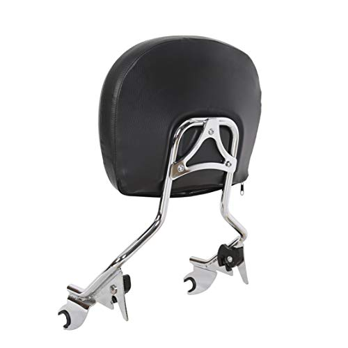 Detachable Sissy Bar with Backrest Pad Chrome for Harley Touring 09-Up 16 17 18(NEED DOCKING HARDWARE) by ECOTRIC (Image #1)