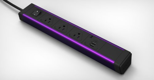 KBAR 3 AC Outlet with Dual 2.1A USB Charger (Purple)